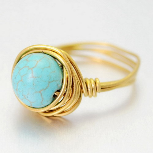 Fashion Turquoise Quartz Gems Round Cut Natural Stone Rings Gold Plated Ring For Womens Wedding Rings 2015(China (Mainland))