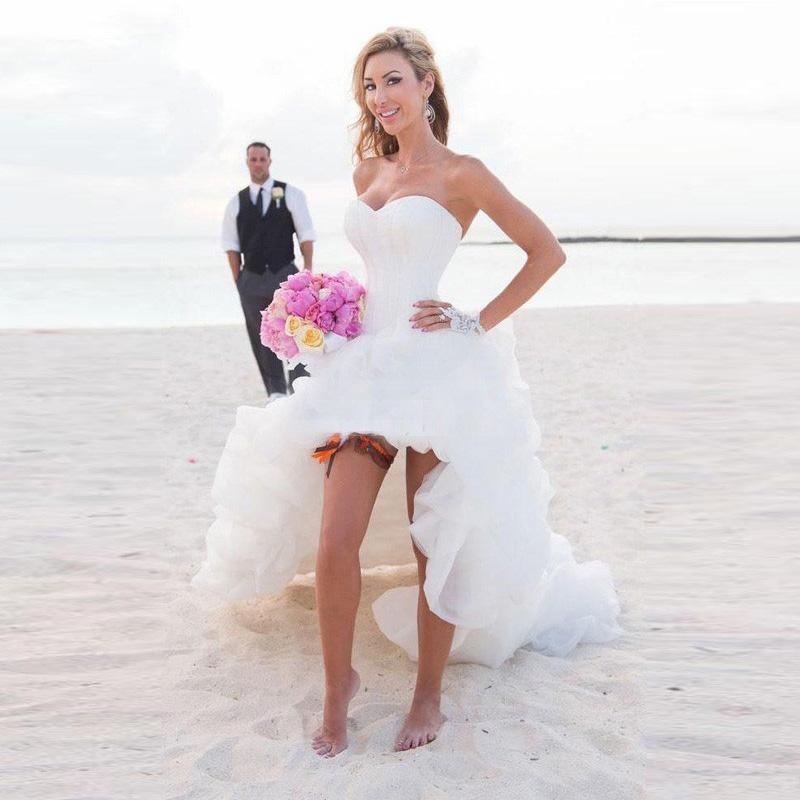2016 Новая Мода Органзы Линии SweetheartTailor Made Оборками Короткий Передний Долго Назад Свадебное Платье Свадебные Платья