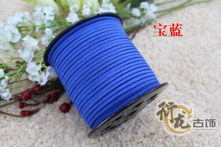 100yards/ Roll 3mm x 2mm Sapphire blue Flat Faux Suede Korean Velvet Leather Cord DIY Rope For Bracelet Necklace 019005019(China (Mainland))