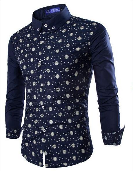 Blue Polka Dot Shirt Men Mens Polka Dot Shirts Slim Fit
