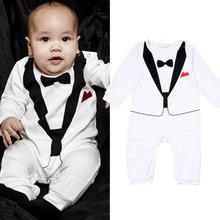 2015 Cotton Long Sleeve Baby Romper Toddler boys Terry Gentlemen Good Quality ASAF