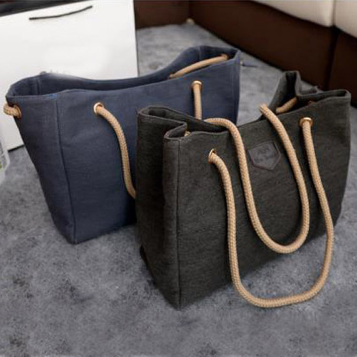 2015 New Canvas Handbag Personality Contracted Large Bag Single Or Double Rope Shoulder Bag For Woman,Drop Shipping ,BJF081(China (Mainland))