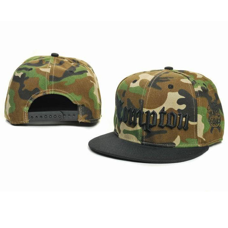 2015 New Trend Fashion Casual COMPTON Letters Embroidery Hats Camouflage Baseball Caps Snapback Bones Hip hop Cap Men Women - KF Store store