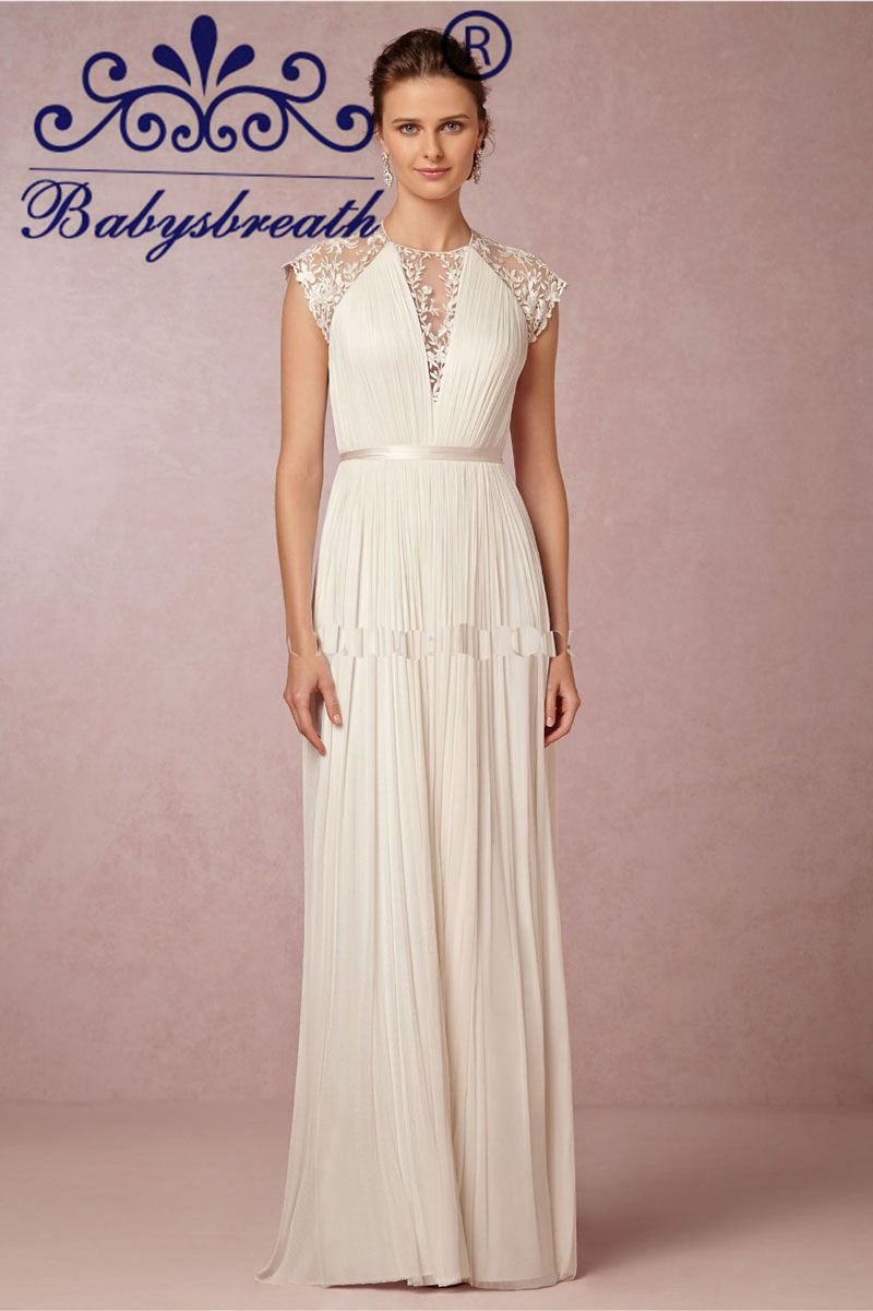 2015 Bridal Sexy Lace Chiffon Beach Wedding Dress Boho Cheap Robe De Marriage Bridal Gown O Neck