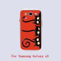 black cat halloween Design Black skin phone cover cases For Samsung Galaxy S3 9300 /S4 /S5 /S6 /S6 Edge