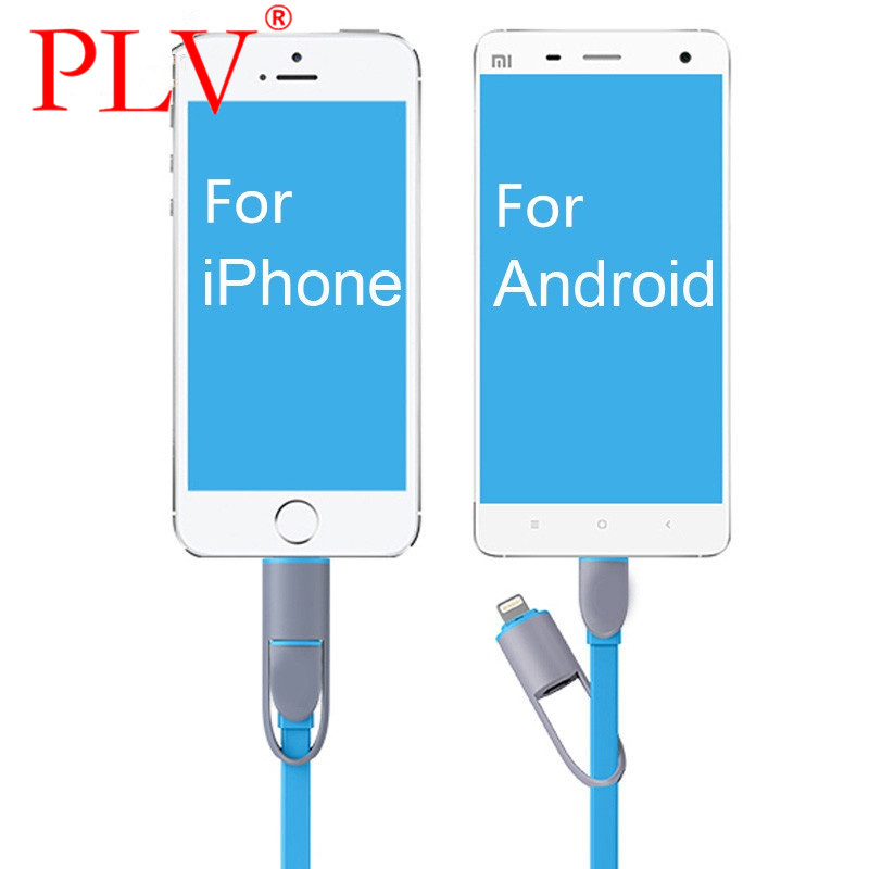 2in1 micro USB cable Sync Data Charging Charger Flat Noodle Cable for iPhone 5s 6 plus For Samsung S4 S5 S6 for Android(China (Mainland))