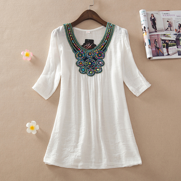 Summer 2015 new women's clothing size plus the national wind blouses embroidered linen dress code great shirt(China (Mainland))