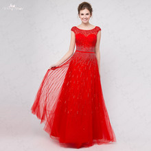 RSE295 Boat Neckline Low Back Cap Sleeves Beaded Lines Prom Dress In stock Long Red Evening Dress(China (Mainland))