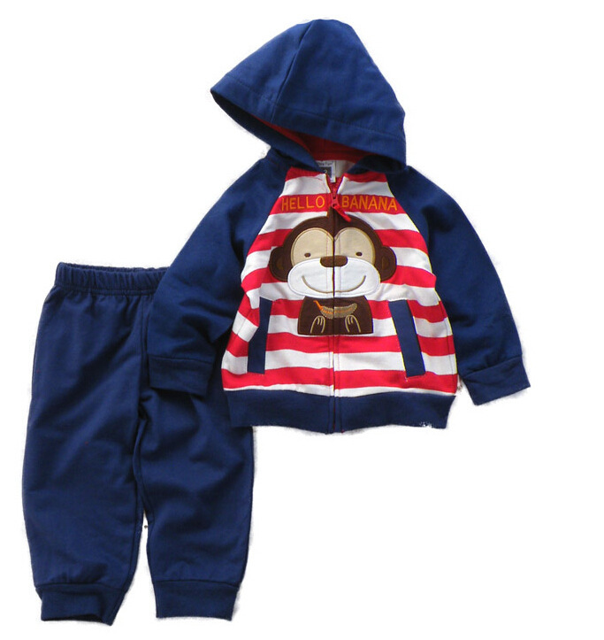 Original Single Children's Clothing Spring Models Baby Boys Sets Cotton Long-sleeved Hooded Suits + Pants Two-piece Set - First-rate Store store