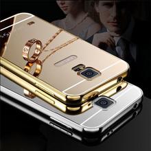 Aluminum Metal Frame Acrylic Mirror Back Cover Case Samsung Galaxy Note 2 3 4 5 S6 S7 edge A3 A5 A7 2016 A8 A9 J1 J3 J5 J7 - jingjingdong store