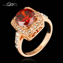 Red Rhinestone Paved CZ Diamond Vintage Engagement Ring 18K Gold Plated Fashion Brand Jewelry For Women Gift aneis anel DFR356