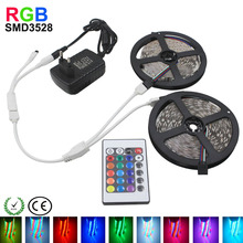 10M 3528 RGB LED Strip SMD2835 Waterproof or Nowaterproof for 24 Keys IR Remote Controller 12V Power Adapter Flexible Light Tape(China (Mainland))