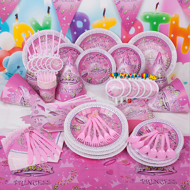 90pcs New Fantasy Girl Theme Party Luxury Adults Kids Girls Birthday Decoration Plates Cups Straws Napkins Party Supplie(China (Mainland))