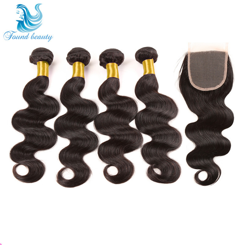 Brazilian Virgin Hair With Closure 4 Bundles With Closure 7a Unprocessed Body Wave Virgin Human Hair Bundles With Lace Closures<br><br>Aliexpress