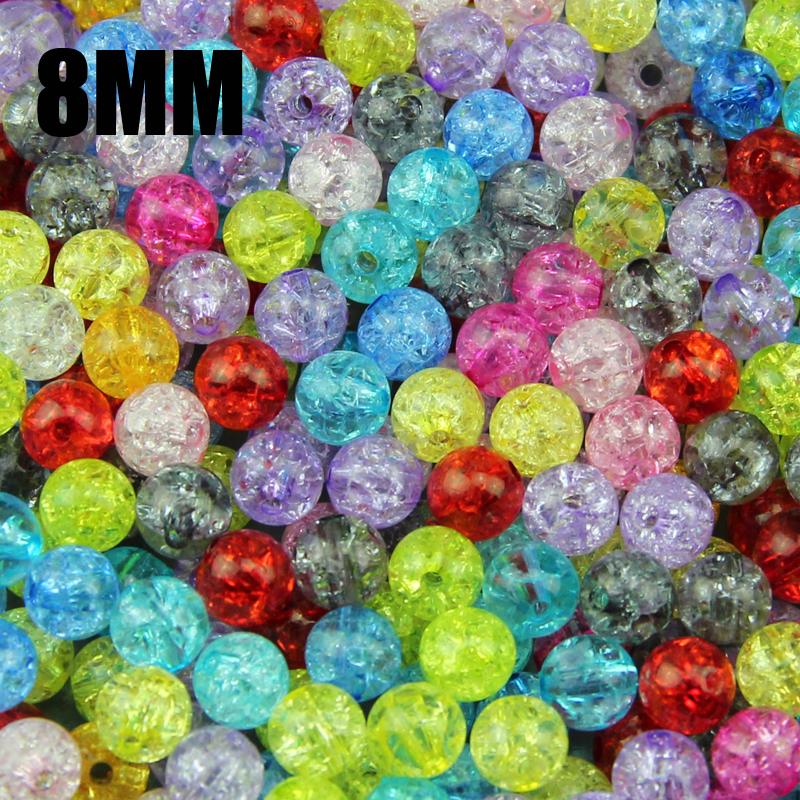 Top quality 100PCs Mixed 8mm Colorful plain color Crackle Acrylic crack round beads Ball Broken Crack Beads Bracelet jewelry DIY()
