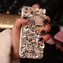 DIY Handmade Bling Fox Crystal Rhinestone Diamond Back Cover Case For iPhone 5 5S SE 6 6S 6 Plus Note 5 4 3 S6 S7 Edge(China (Mainland))