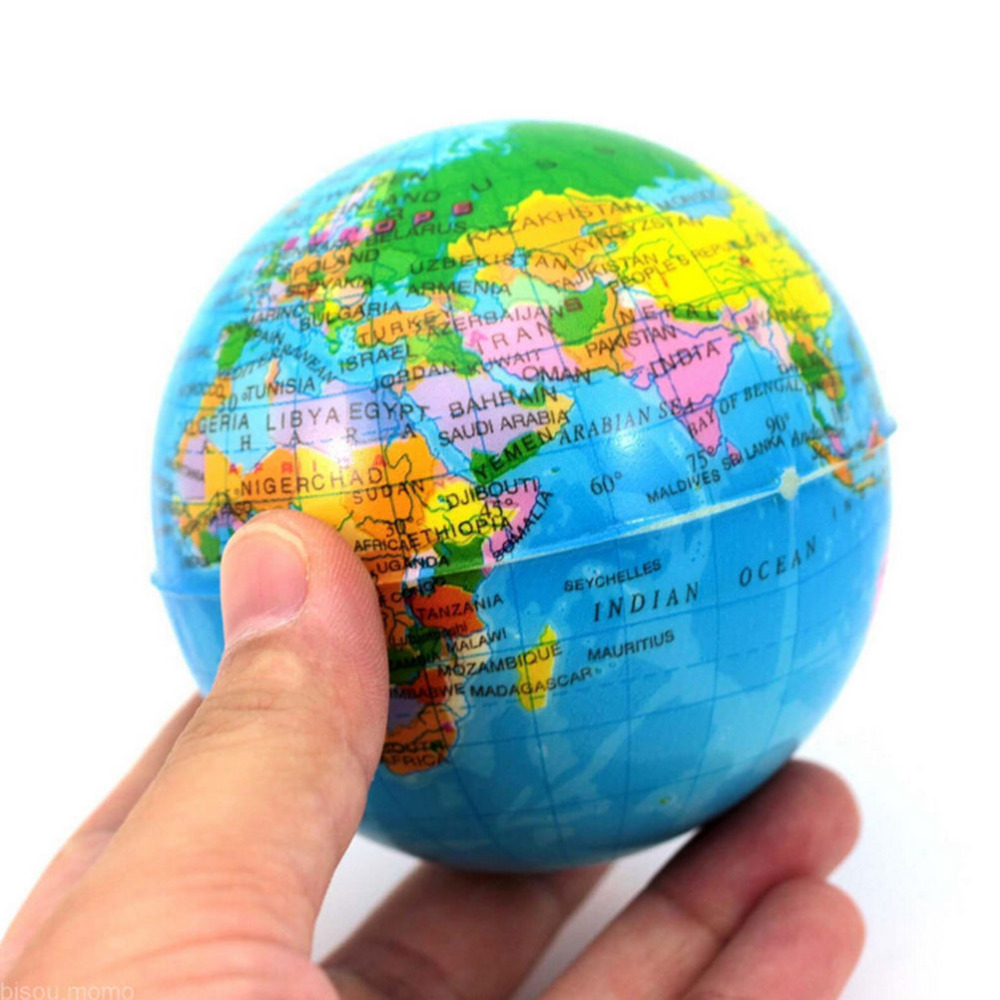 Foam Rubber Ball Dia 7.5cm World Map Foam Earth Globe Hand Wrist Exercise Stress Relief Squeeze Soft Foam Ball(China (Mainland))