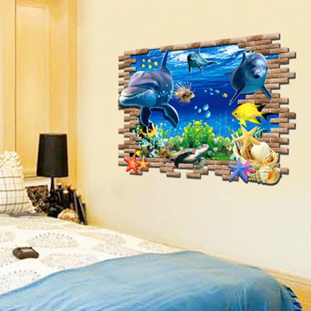 sea cute dolphin fish 3d wall stickers for kids rooms home mik 3d wall stickers collabcubed