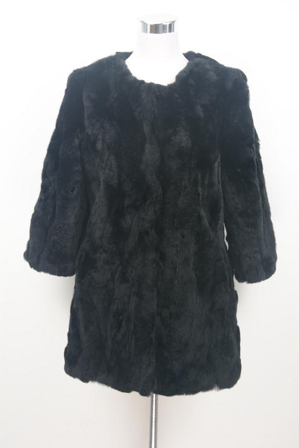S1537 Lady Real fur jacket Women Genuine Rex Rabbit fur long coat pocket winter warm 3/4 sleeves