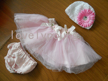 baby birthday tutu skirt with a bloomer and one flower hat 3 pcs set(China (Mainland))