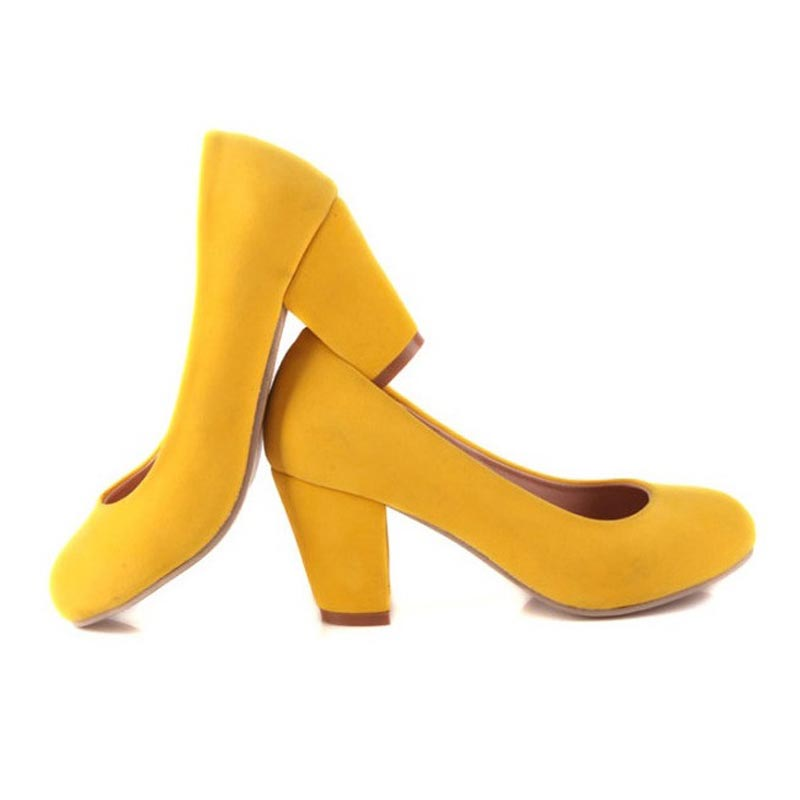 2015 Yellow Suede Sexy Thick with High Heels Brand Women Pumps Ladies Shoes Woman Chaussure Femme Zapatos Mujer sapato feminino<br><br>Aliexpress