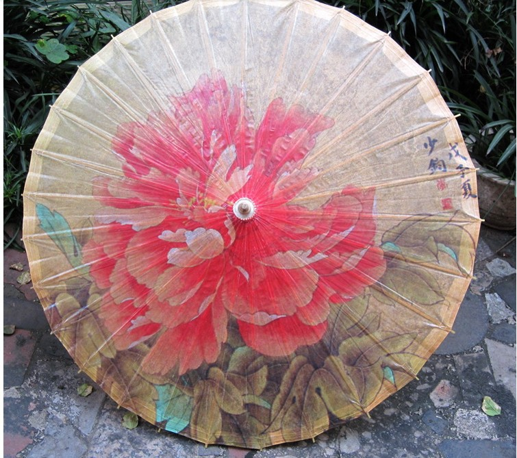Beautiful 2014 discount free shipping style of chinese red peony prevent rain - Parasol prix discount ...