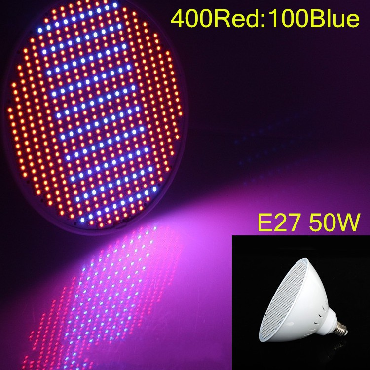 1X High Power Apollo LED Grow Lights Bulbs E27 50W 400Red:100Blue Hydroponics LED Plant Lamp Lighting for Flowers and Vegetable(China (Mainland))
