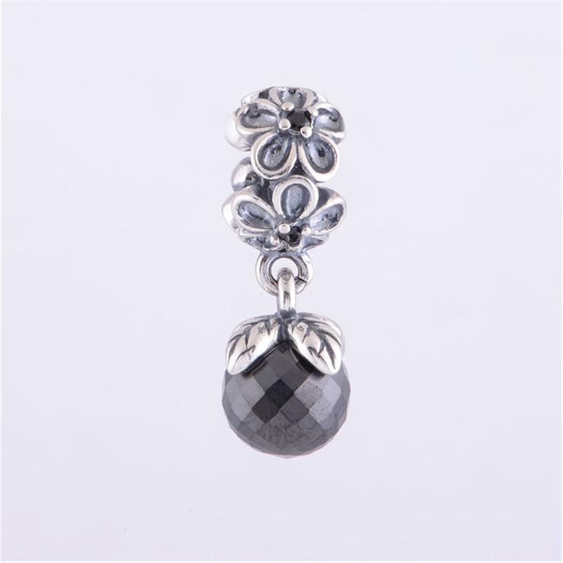 black viola bloom dangle charms fits for pandora bracelets
