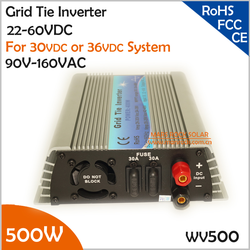 Manuafacturer Big Sale!!! 500W 22-50V DC to AC 90-140V grid tie inverter working for 30V or 36V solar panel or wind turbine(China (Mainland))