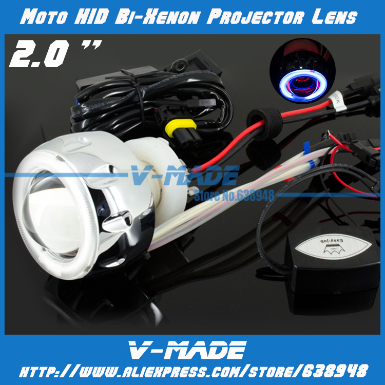 Free Shipping Motorcycle Headlight 2.0 inch Bi-Xenon HID Projector Lens Kit with LED CCFL angel eyes(China (Mainland))