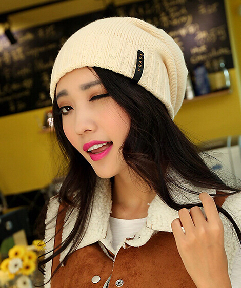 Fashionable joker ladies knitting wool cap Autumn and winter warm outside hat cool 1pcs brand new arrive(China (Mainland))