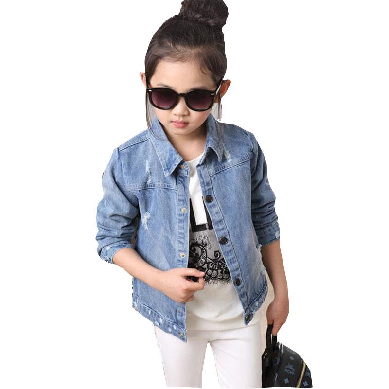 New spring autumn 2015 girls denim fashion children outerwear toddler baby kids jackets long sleeve floral jean coat(China (Mainland))
