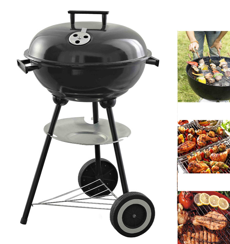 """17"""" Trolley Black Steel Kettle Portable Charcoal BBQ Grill for Outdoor Barbecue Camping Grill(China (Mainland))"""
