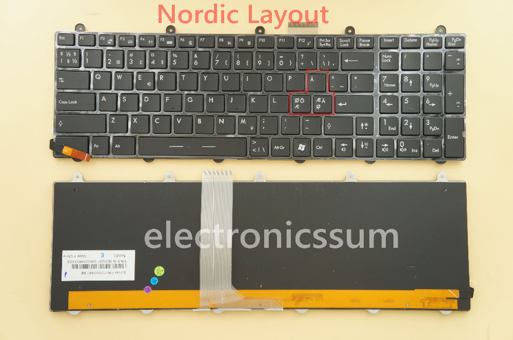 NEW For MSI Steelseries GT60 GT70 MS-1762 Laptop Keyboard Colorful Backlit NE Nordic Swedish Norwegian Finnish Danish(China (Mainland))