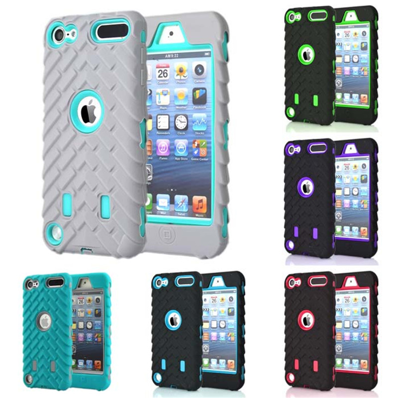 For apple ipod Touch 5 6 Heavy Duty Phone Case Tire Style Dual Layer Silicone&Hard Plastic Armor Hybrid Cover Shock Proof Cases(China (Mainland))