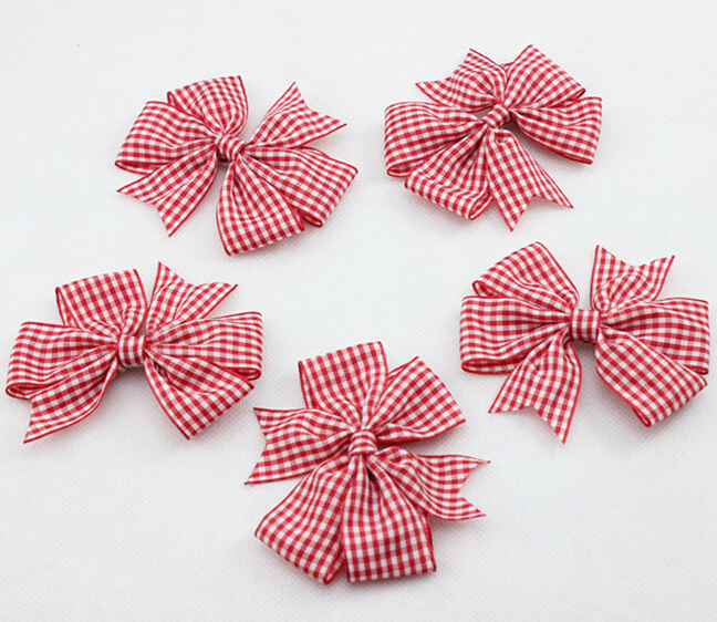 2015 NEW Baby Girl red Tartan ribbon Hairbow with Clips for Children Hair Accessories Boutique Hair Bow 10pcs / lot(China (Mainland))