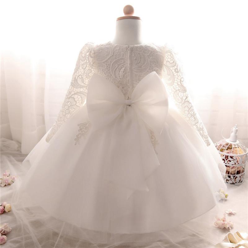 Winter Dress For Girl Long Sleeve White Baptism Dresses ...