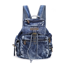 Newest style fashion denim backpack with zipper pocket,,jeans student backpack(China (Mainland))