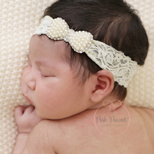 1pcs Newborn Crystal Pearl Bow with Lace Headbands For baby Girls hair accessories Newborn headband infantil Photographs props