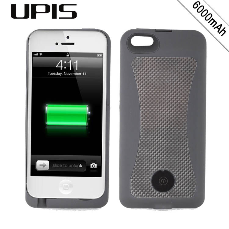 6000mAh Carbon Fiber UPIS Protective Rechargeable External Backup Battery Charger Power Case For iPhone 5 5s(China (Mainland))