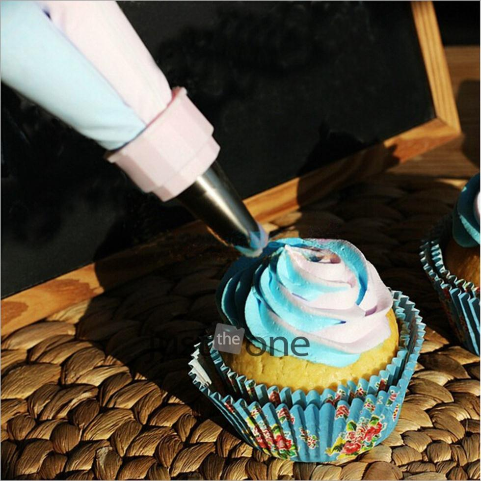 Two Color Cake Dessert Decorators Icing piping bag cream pastry bag with nozzles pastry converter bakeware New 1pcs(China (Mainland))