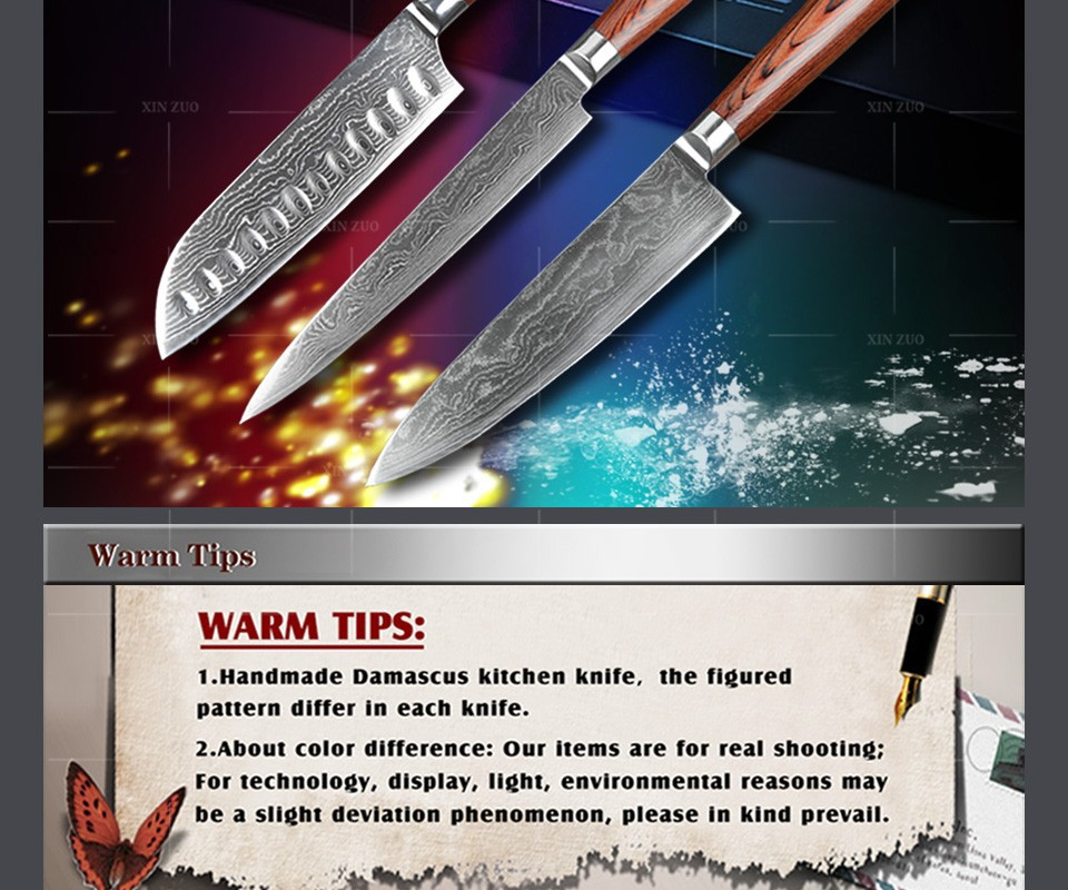 Buy 3 pcs Kitche knives set Japanese 73 layers Damascus steel kitchen knife chef cleaver Sashimi knife wood handle free shipping cheap