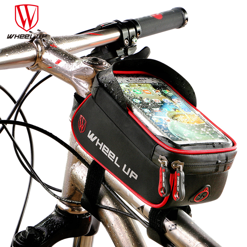 WHEEL UP Rainproof Front Zipper Bike Bag MTB Mountain Cycle Touch Screen Phone Bags Waterproof GPS Cycling Pouch Panniers 2017(China (Mainland))