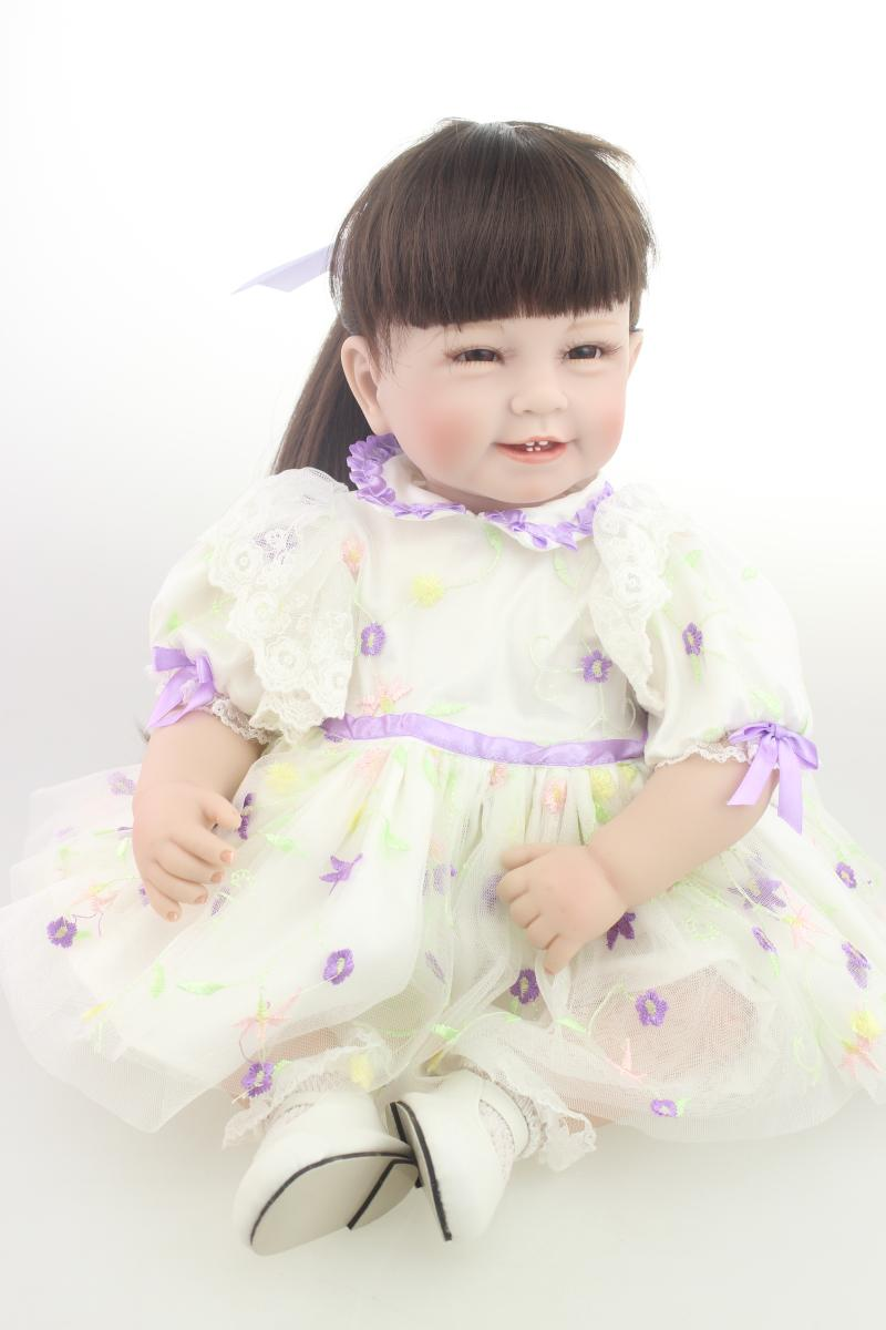 """Princess Series 22 """"inches rebirth silicone Embroidered tulle skirt Up Doll girl upscale children's toys(China (Mainland))"""