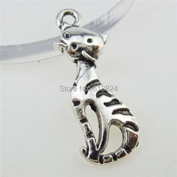 (80 pieces/lot) 12809 Alloy Vintage Silver Tone Cute Lovely Cartoon Pet Cat Pendant Charm - jewelry style store
