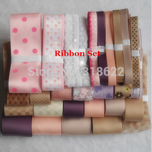 2015 New Arrival 27 Yards Ribbon Set Tape Dot Flower Printed Grosgrain / Satin ribbon DIY Hairbow making sewing accessories(China (Mainland))
