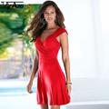 Sexy Club Party Women Dress Vestidos V Neck Mini Solid Dress Plus Size High Waist Fashion