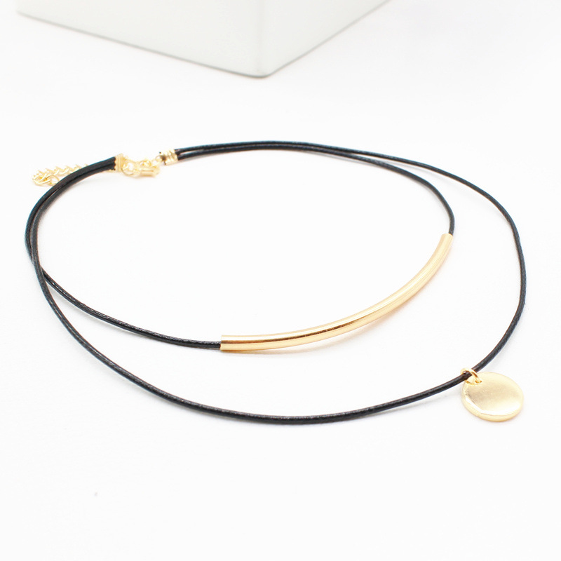 2017 new coin Black leather Choker Necklace Velvet Long rope chain gold plated Tube Suede Accessories Collier femme for Women(China (Mainland))