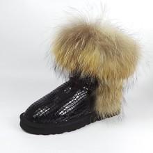 UVWP Mujeres Bienes Naturales Zorro Nieve Botas de piel de Alta Calidad La Moda de Cuero genuino de las mujeres Botas Calientes Zapatos Mujer Invierno Envío nave(China (Mainland))