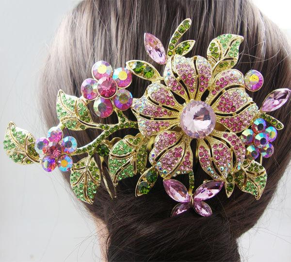 Fashion Bridal Wedding Hair accessories Bridal Bridesmaid Headpieces Jewelry Bridal Hair Comb Flower Pink Rhinestone Crystal(China (Mainland))